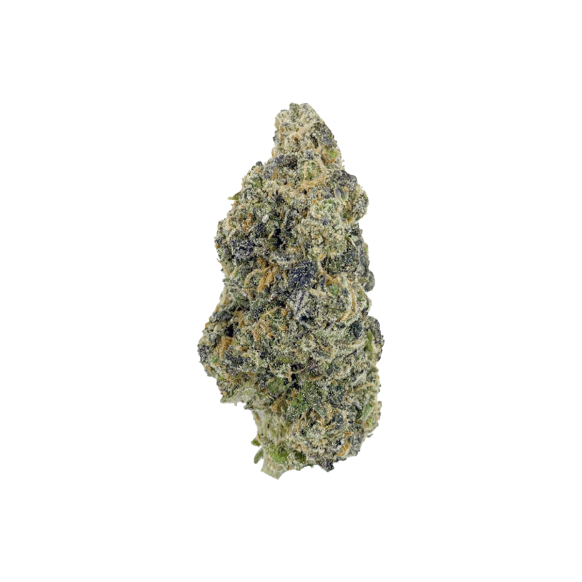 Tenzo Dosi Pie Nug - colourful green and purple with visible trichomes on a white background.