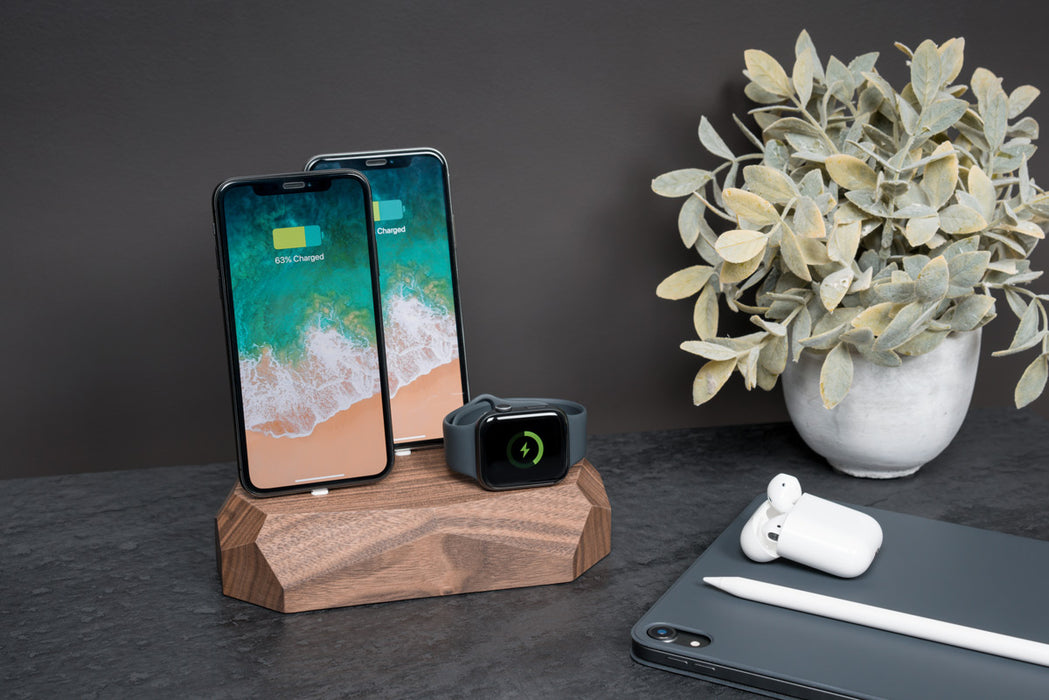 Base de Carregamento Tripla para iPhone, Apple Watch e AirPods  | Madeira Nogueira