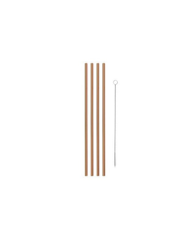 reusable copper metal straws with cleaner