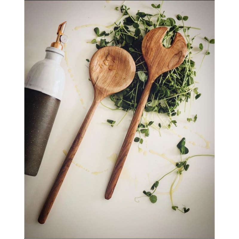 sustainable handmade wooden serving and salad spoons
