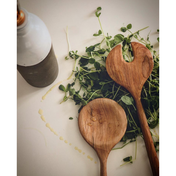 sustainable handmade wooden salad spoons