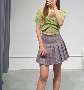 YUNA Check Pleated Skirt