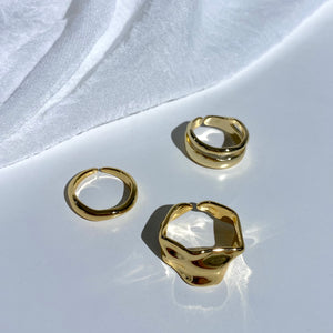 (925 Sliver) Gold Wavy Rings