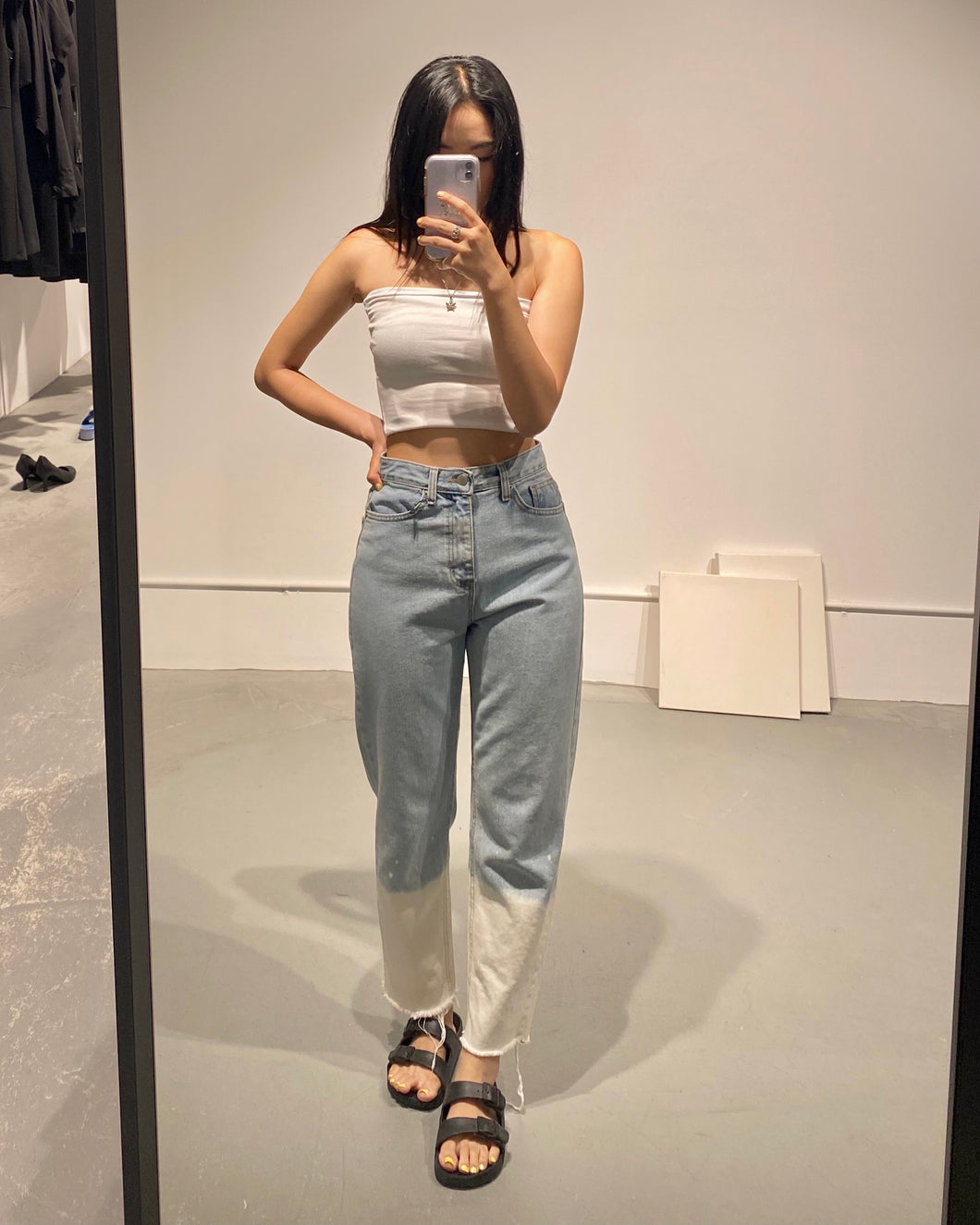 YUNA Degrade Two-tone Jeans