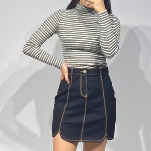 DAHE Denim Mini Skirt