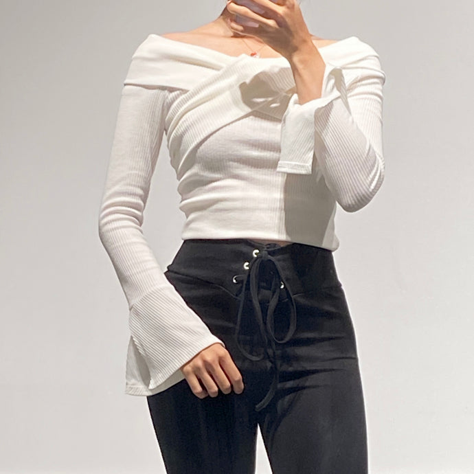 SUJIN Off-Shoulder Wrap Ribbed Top