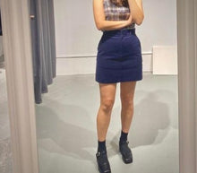 Load image into Gallery viewer, INHA Cord Mini Skirt in Navy
