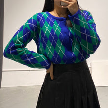 Load image into Gallery viewer, SULA Argyle Crop Cardi