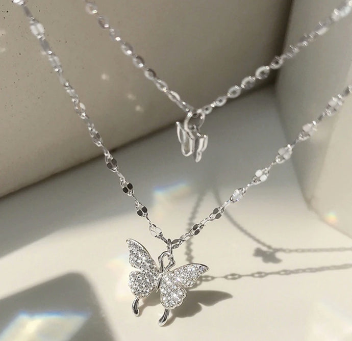 (925 Silver) Layered Butterfly Necklace