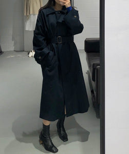 MIYA Maxi Trench Coat in Navi