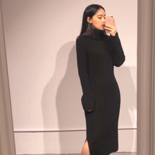 Load image into Gallery viewer, YURI Ribbed Black Knit Dress