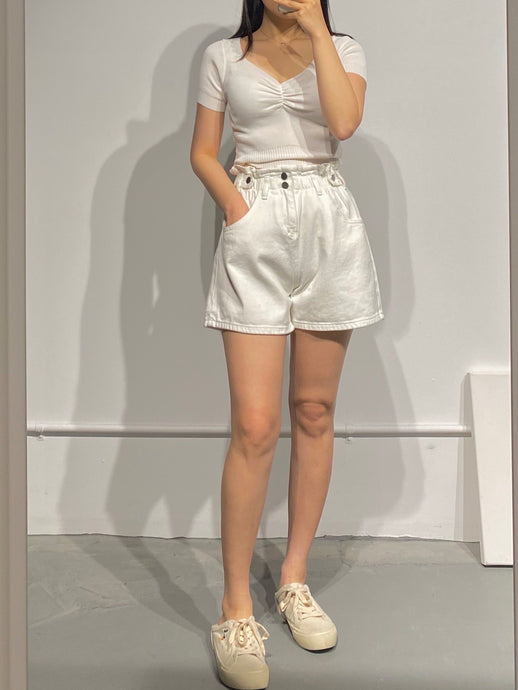 INHA White Denim Shorts