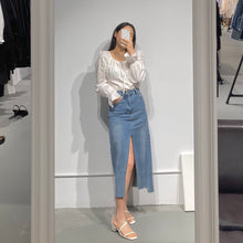 Load image into Gallery viewer, URI Slit-Front Denim Skirt