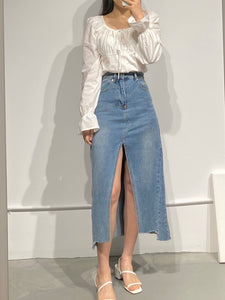URI Slit-Front Denim Skirt