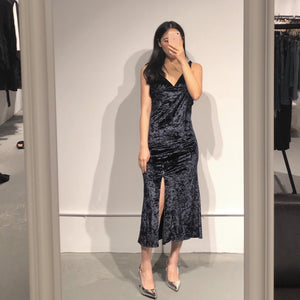 MINHEE Velvet Slit Dress