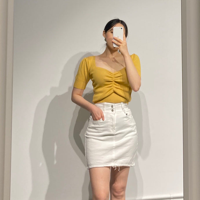 SUA White Banding Denim Skirt