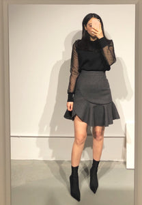 SOHEE Sheer Sleeves Knitted Top