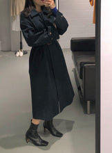 Load image into Gallery viewer, MIYA Maxi Trench Coat in Navi