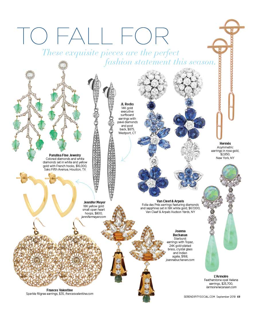 """JL Rocks Executive Surfboard Earrings featured in Serendipity's """"Earrings to Fall For"""""""