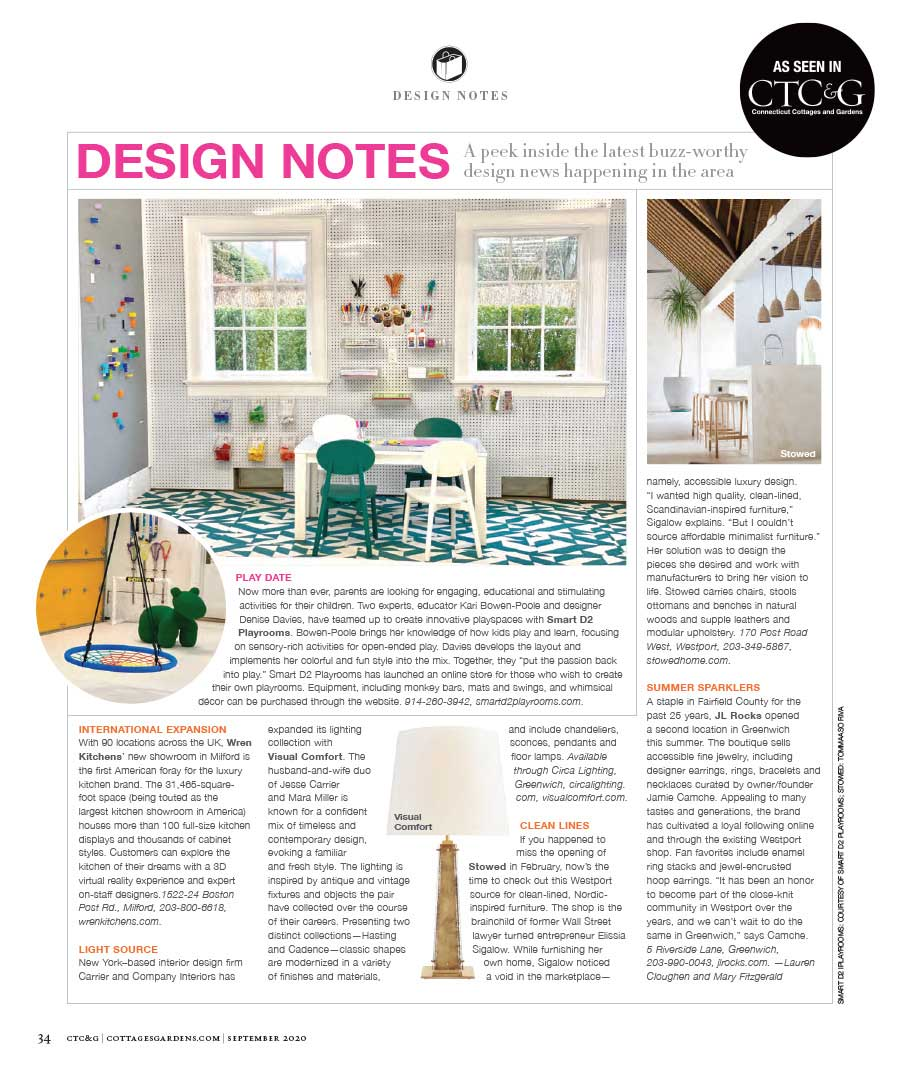 """JL Rocks featured in Connecticut Cottages & Gardens's """"Design Notes"""" article"""
