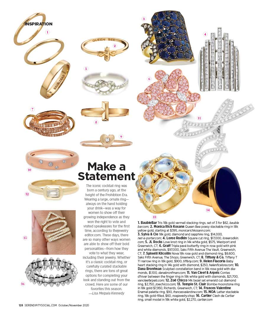 """JL Rocks Love Knot Ring featured in Serendipity's """"Make a Statement"""" article"""