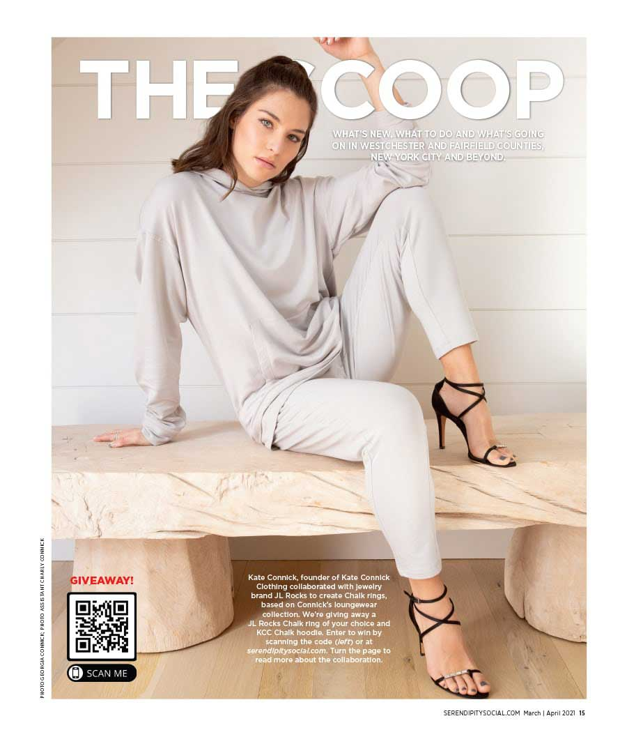 """JL Rocks collaboration with Kat Connick featured on the cover of Serendipity's """"The Scoop"""