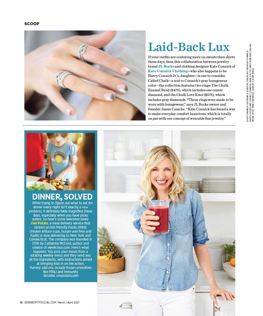 JL Rocks collaboration with Kate Connick featuring Enamel Rings in Chalk