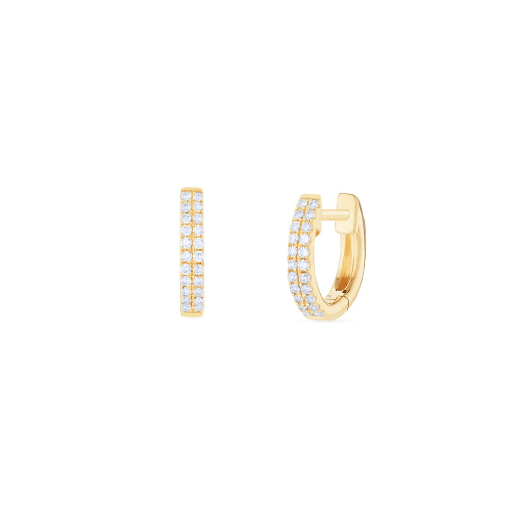 JL Rocks Fine Jewelry, Double Row Diamond Huggie Earrings