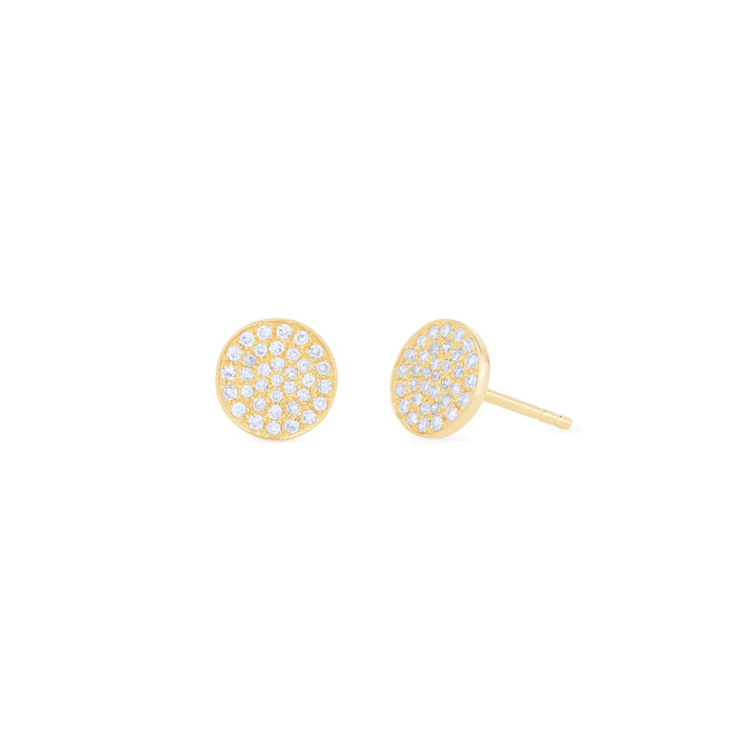 JL Rocks Fine Jewelry, Pavé Diamond Disc Earrings