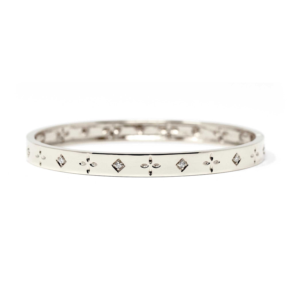 JL Rocks Fine Jewelry, Dori Slim Bangle in White Gold