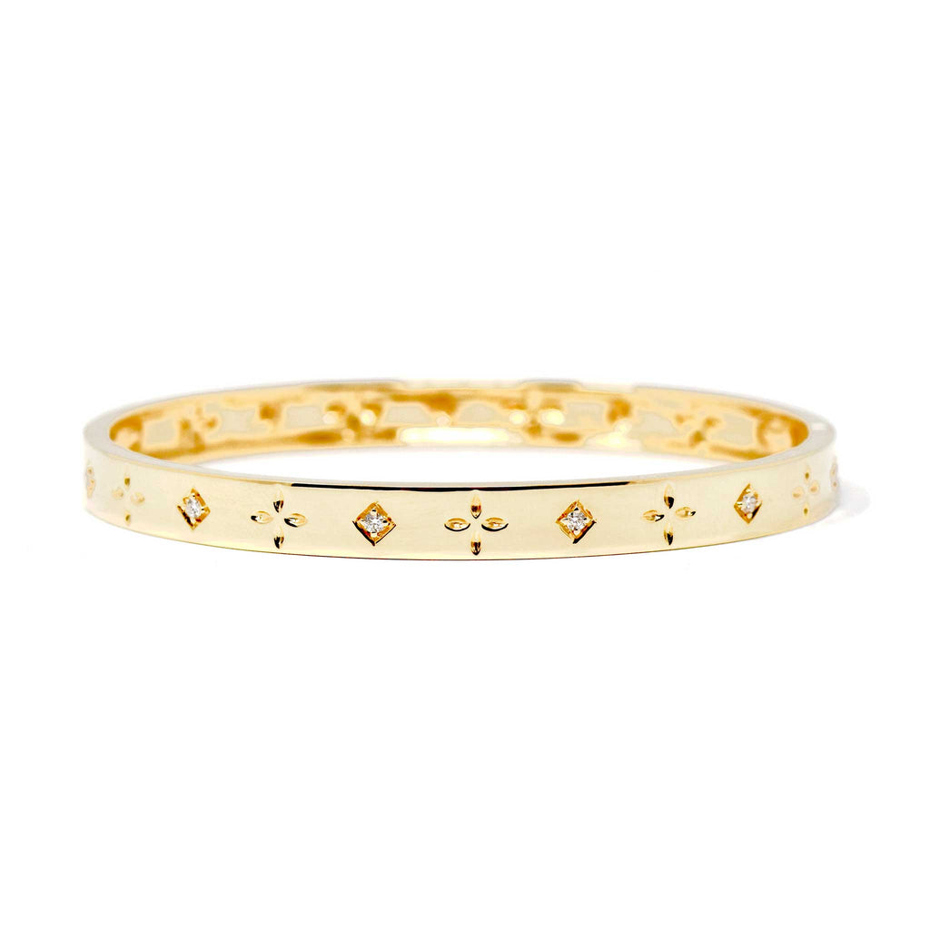 JL Rocks Fine Jewelry, Dori Slim Bangle in Yellow Gold