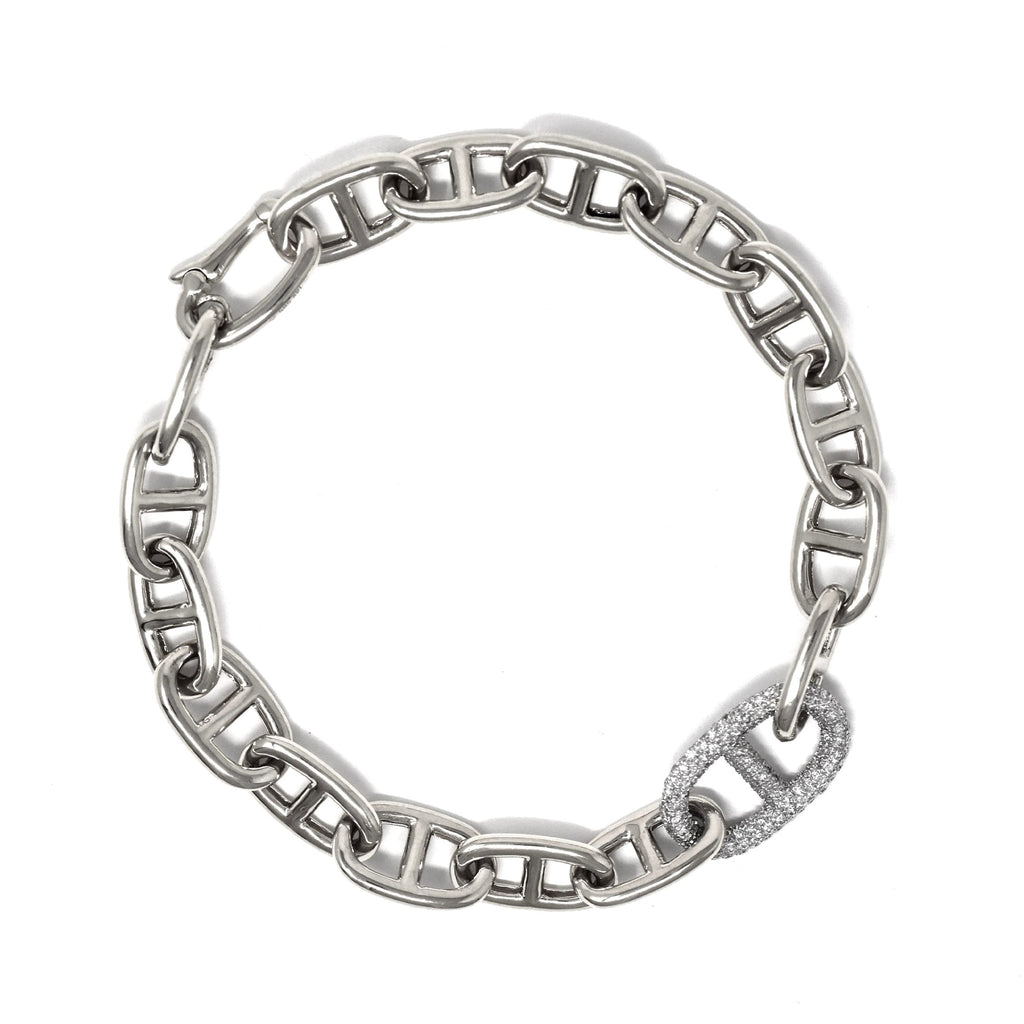 JL Rocks Fine Jewelry, Missing Link Bracelet in White Gold