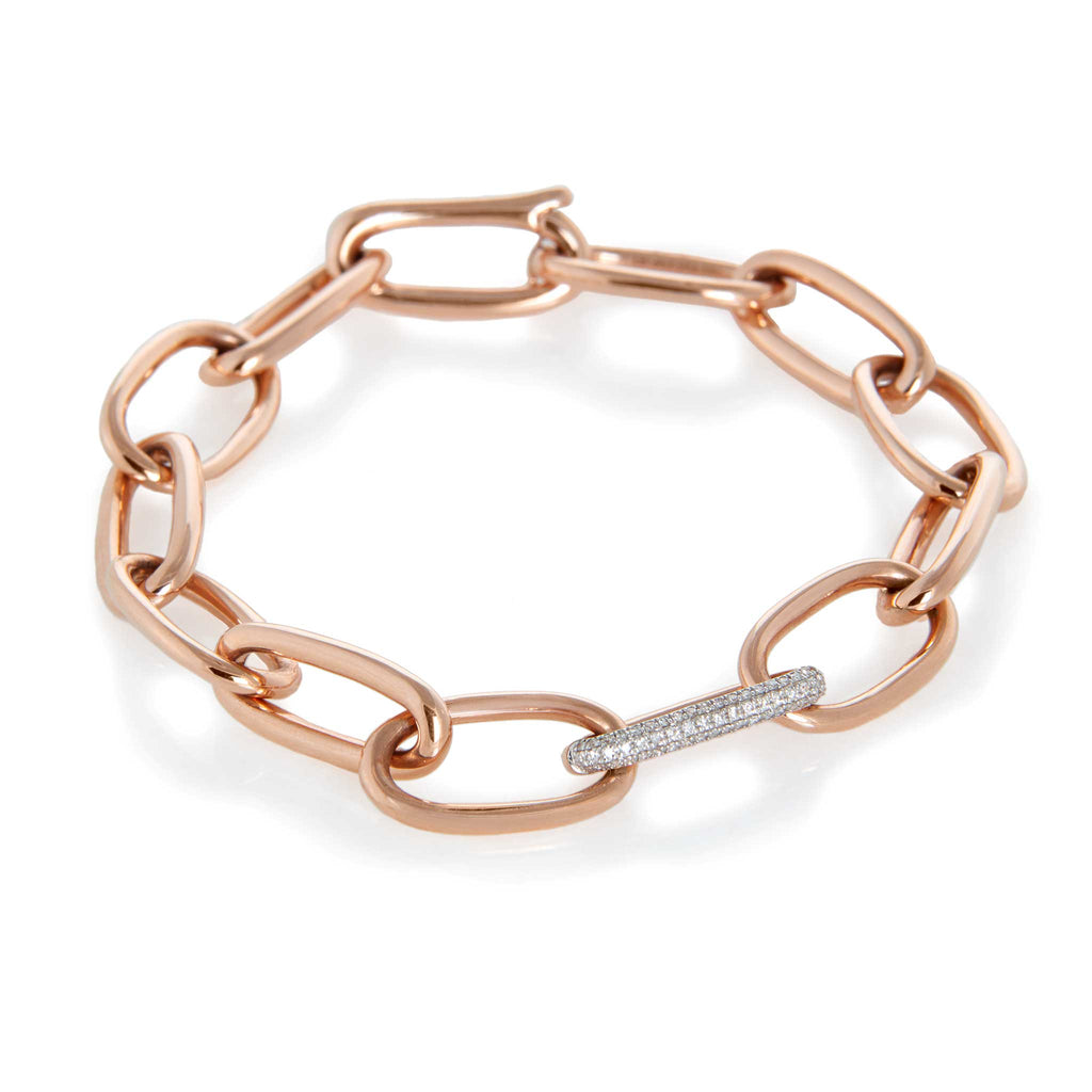 JL Rocks Fine Jewelry, Solid Gold Link Bracelet in Rose Gold