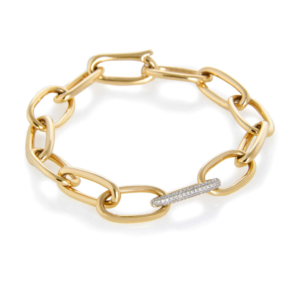 JL Rocks Fine Jewelry, Solid Gold Link Bracelet in Yellow Gold