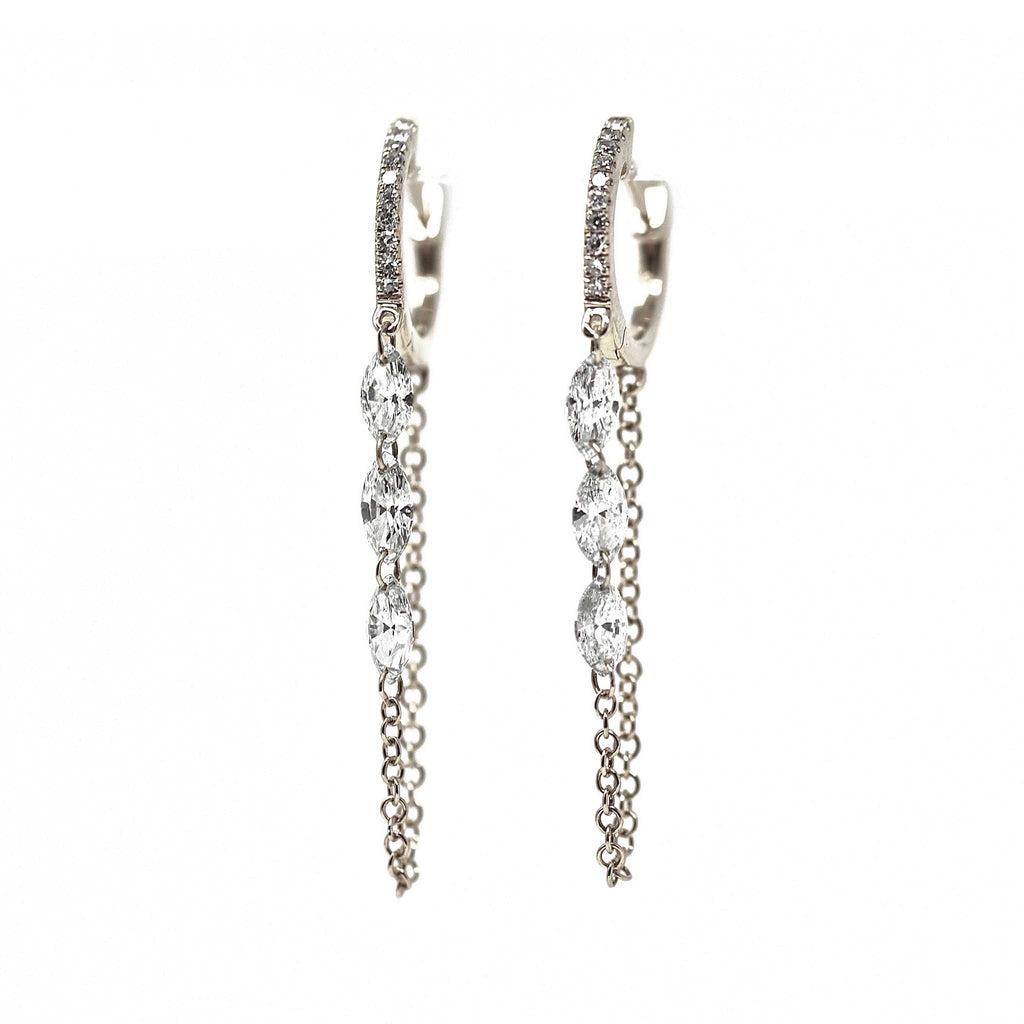 JL Rocks Fine Jewelry, Marquis Droplet Earrings (6 Diamonds) in White Gold