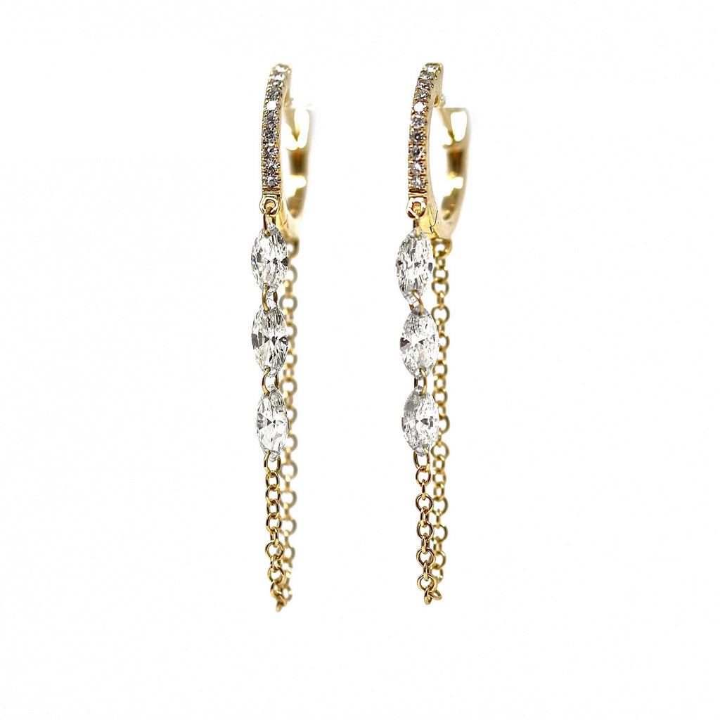 JL Rocks Fine Jewelry, Marquis Droplet Earrings (6 Diamonds) in Yellow Gold