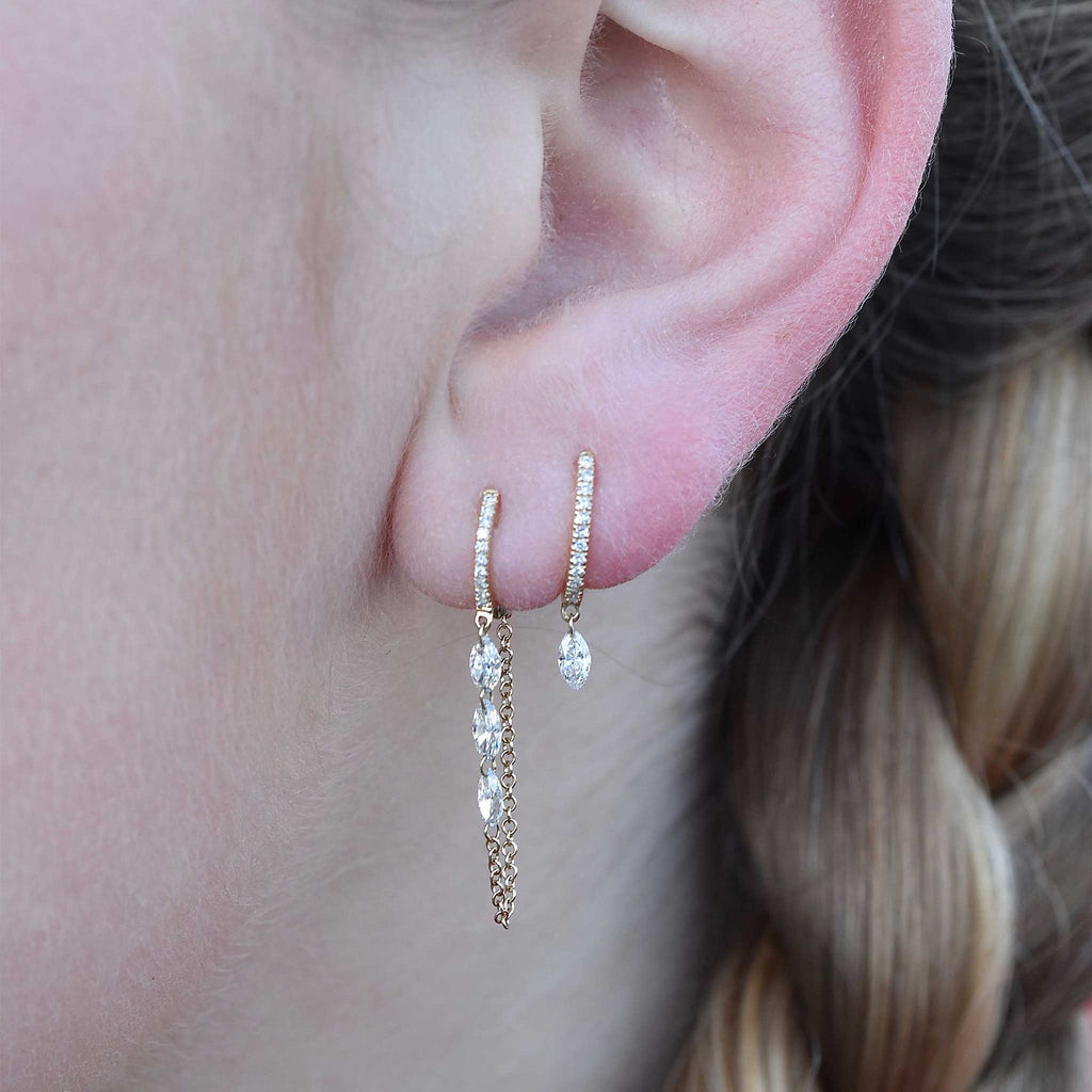 Marquis Droplet Earrings (6 Diamonds)