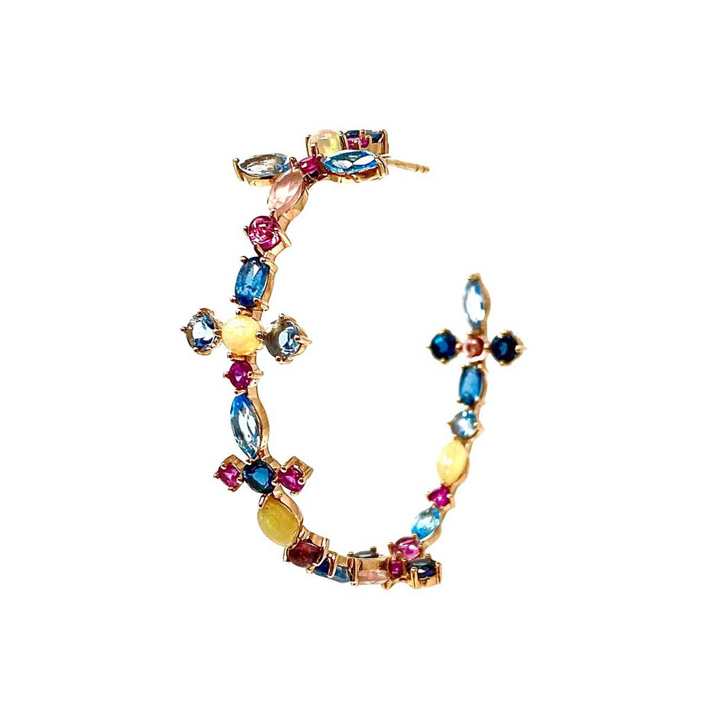 JL Rocks Fine Jewlery, Multi-Sapphire Hoop Earrings on Rose Gold