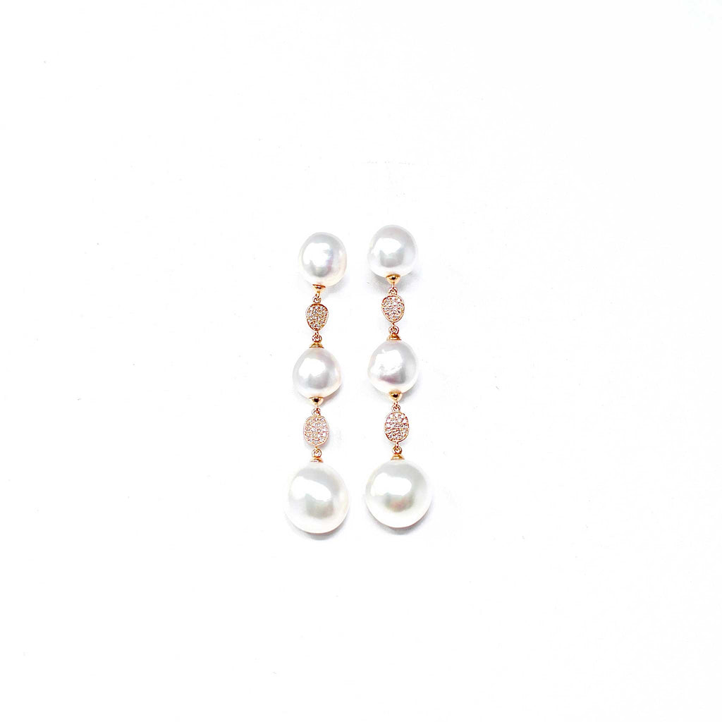 JL Rocks Fine Jewelry, Pearl Drop Earrings in Rose Gold