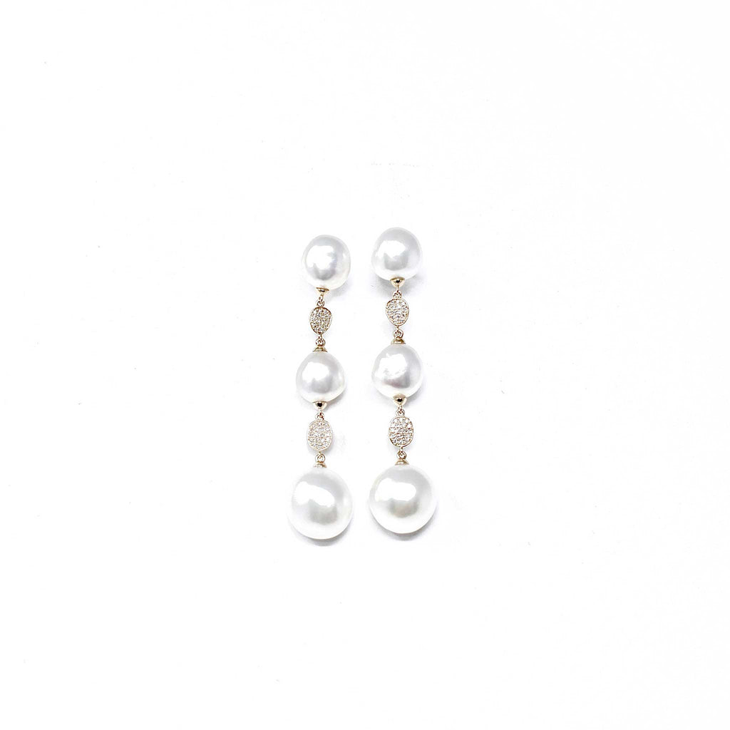 JL Rocks Fine Jewelry, Pearl Drop Earrings in White Gold