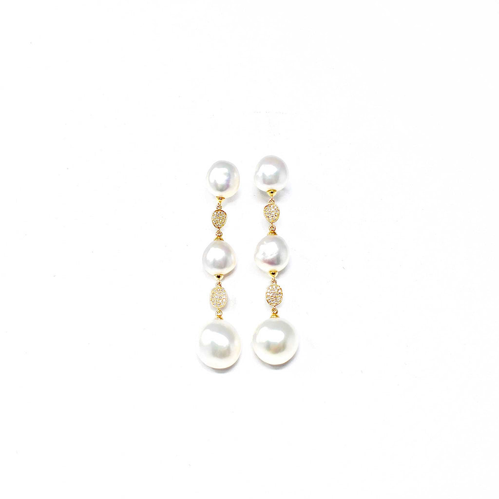 JL Rocks Fine Jewelry, Pearl Drop Earrings in Yellow Gold