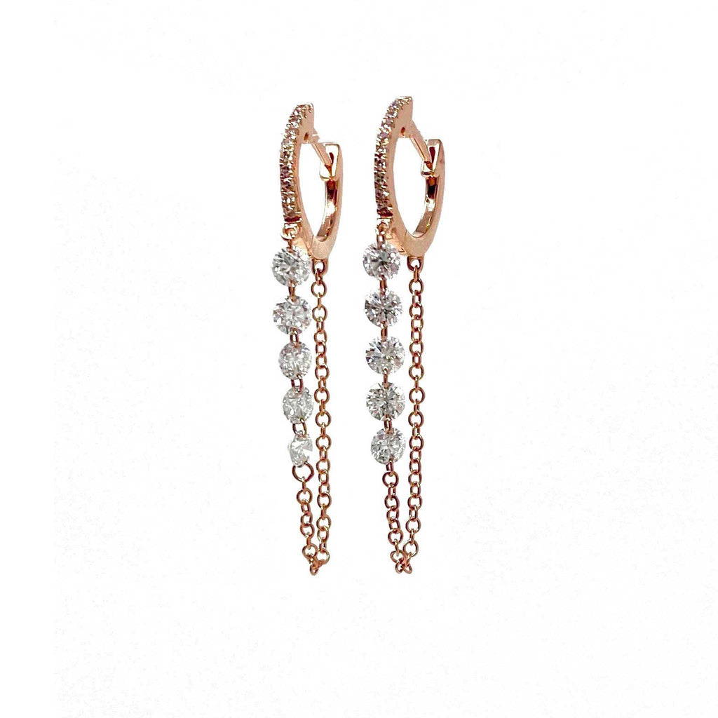 JL Rocks Fine Jewelry, Round Droplet Earrings (10 Diamonds) in Rose Gold