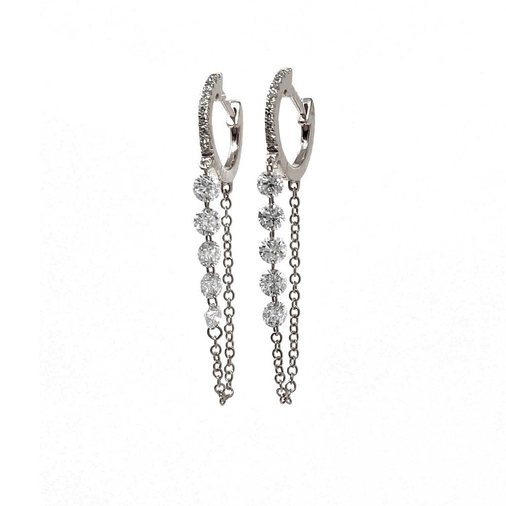 JL Rocks Fine Jewelry, Round Droplet Earrings (10 Diamonds) in White Gold