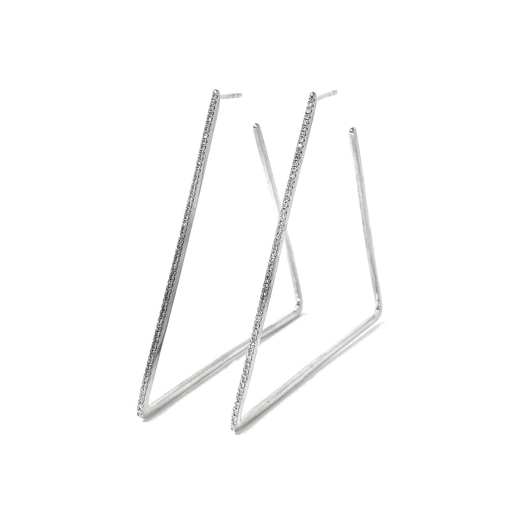 JL Rocks Fine Jewelry, Triangle Hoops in White Gold