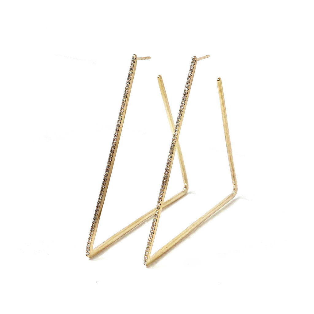 JL Rocks Fine Jewelry, Triangle Hoops in Yellow Gold