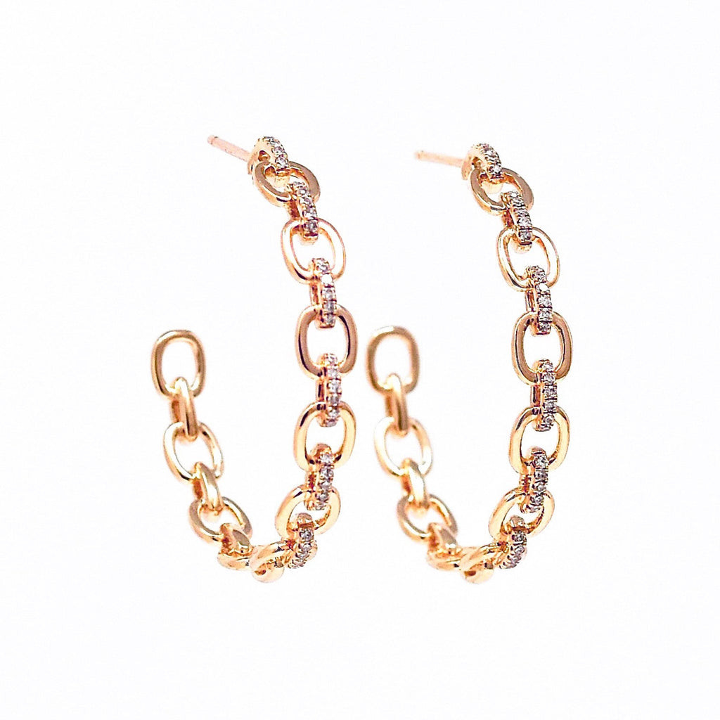 JL Rocks Fine Jewelry, Diamond + Link Hoop Earrings Large in Rose Gold