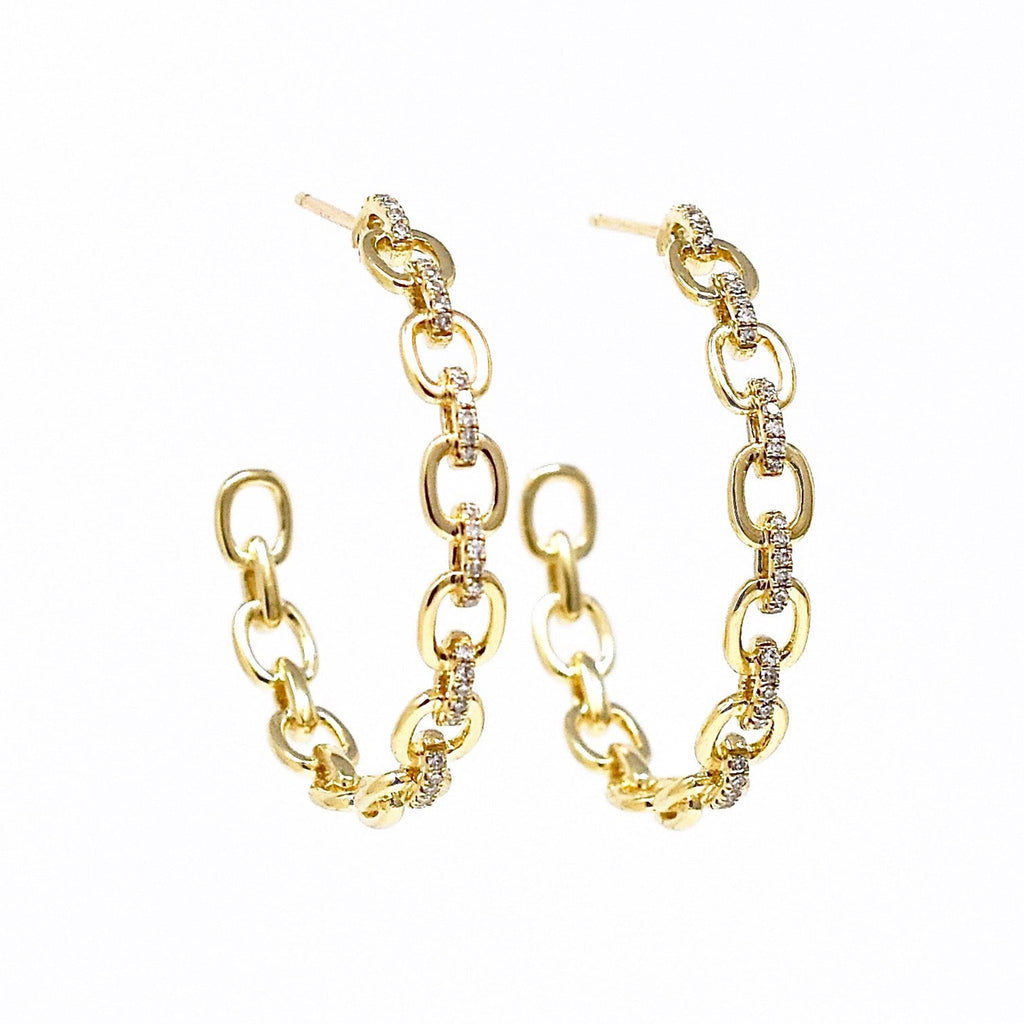 JL Rocks Fine Jewelry, Diamond + Link Hoop Earrings Large in Yellow Gold