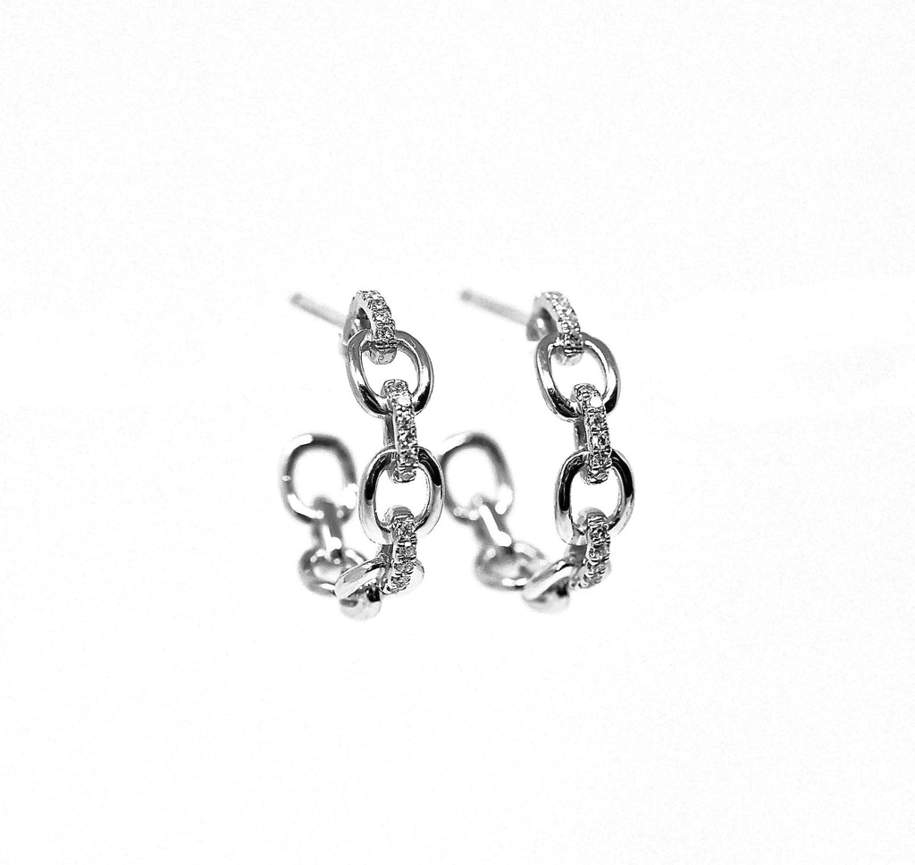 JL Rocks Fine Jewelry, Diamond + Link Hoop Earrings Medium in White Gold