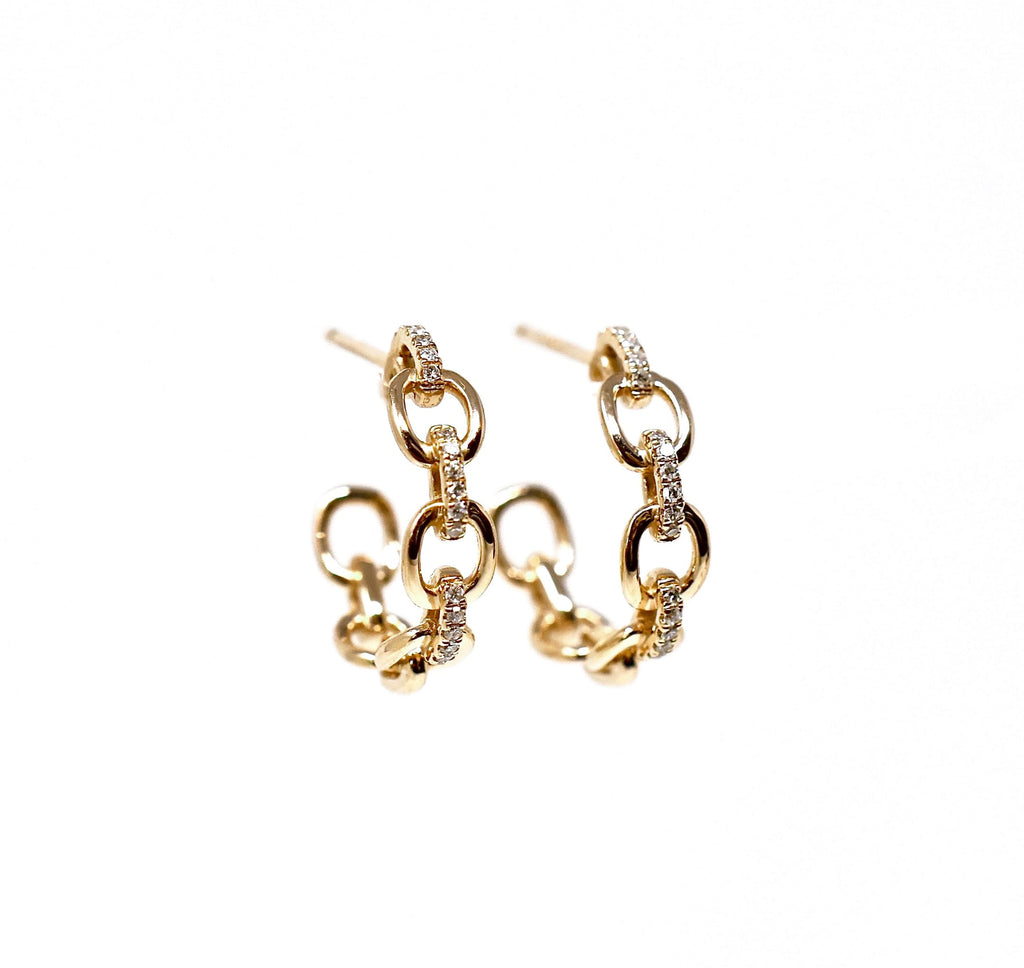 JL Rocks Fine Jewelry, Diamond + Link Hoop Earrings Medium in Yellow Gold
