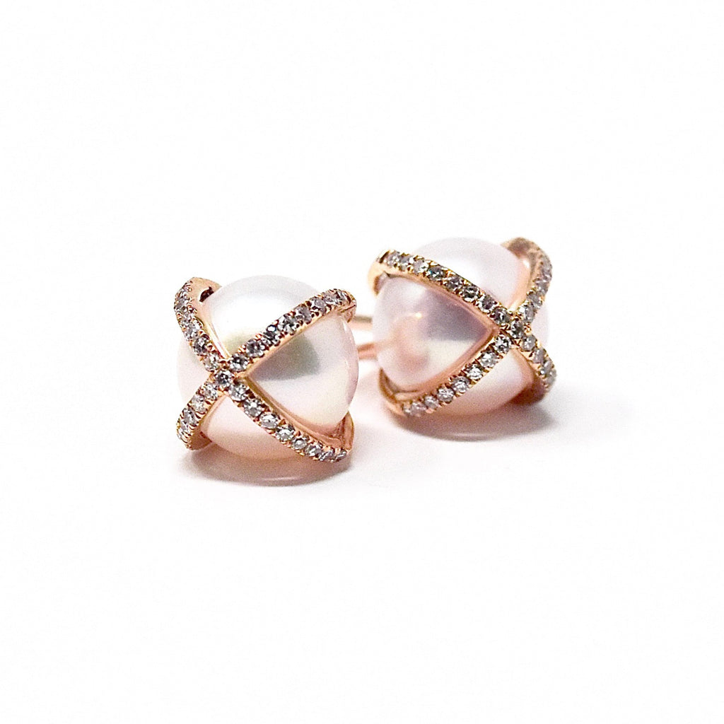 JL Rocks Fine Jewelry, Pearl Studs with X Cross Earrings in Rose Gold